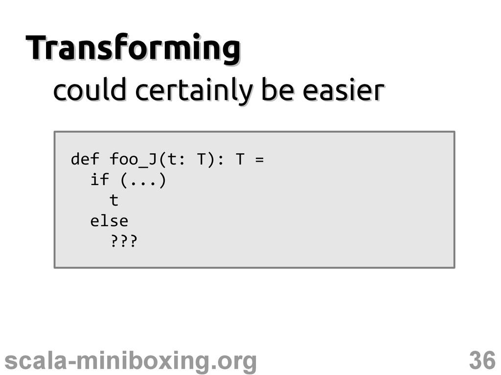 36 scala-miniboxing.org Transforming Transformi...