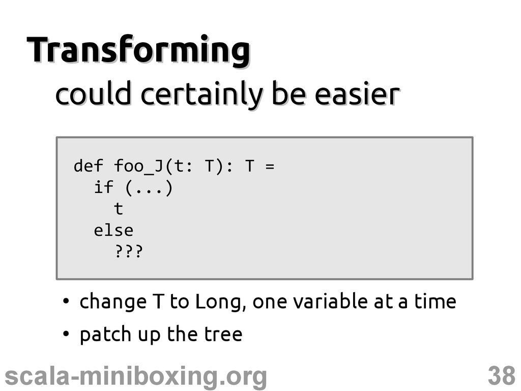38 scala-miniboxing.org Transforming Transformi...