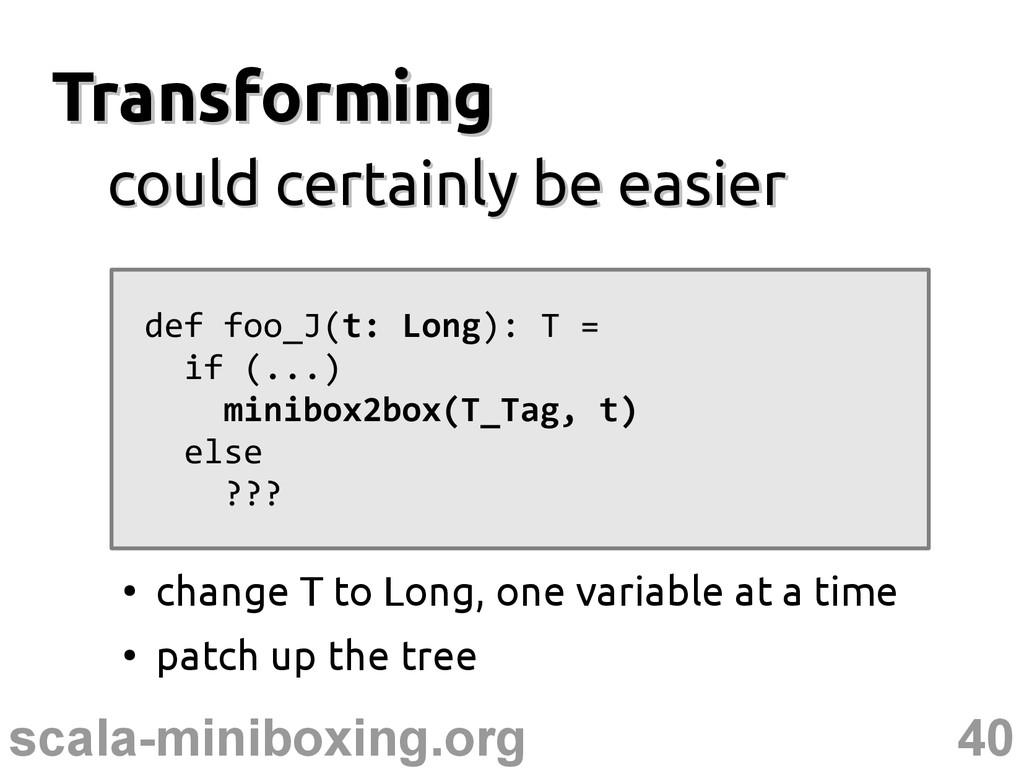 40 scala-miniboxing.org Transforming Transformi...