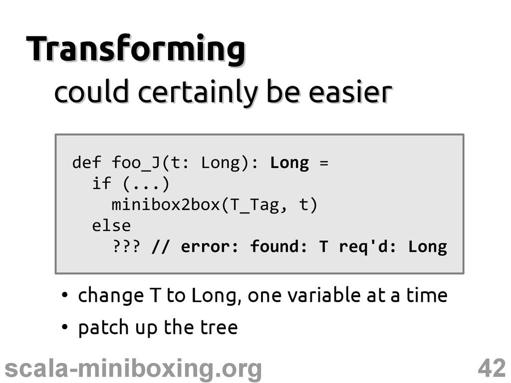 42 scala-miniboxing.org Transforming Transformi...