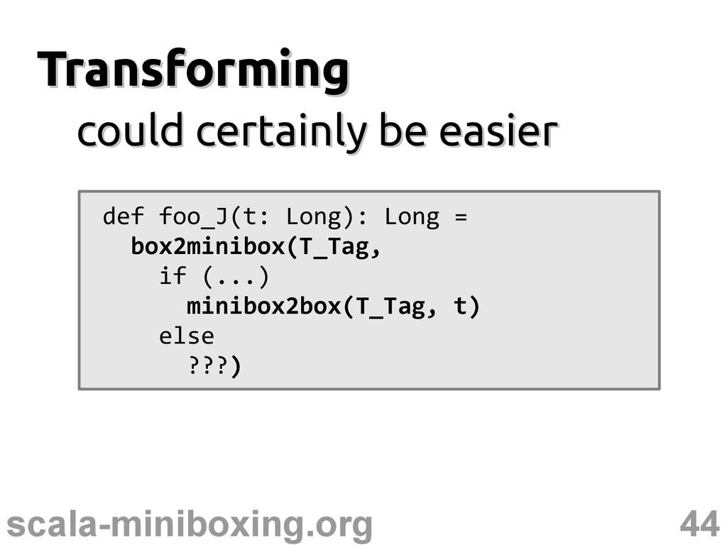 44 scala-miniboxing.org Transforming Transformi...