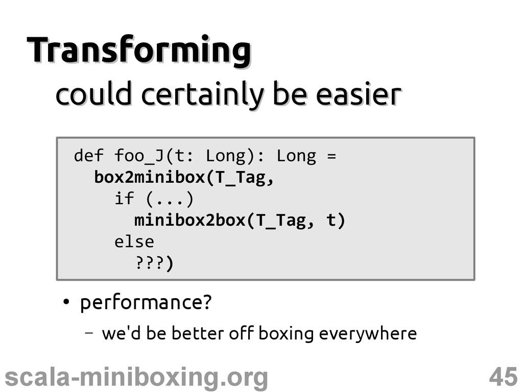 45 scala-miniboxing.org Transforming Transformi...
