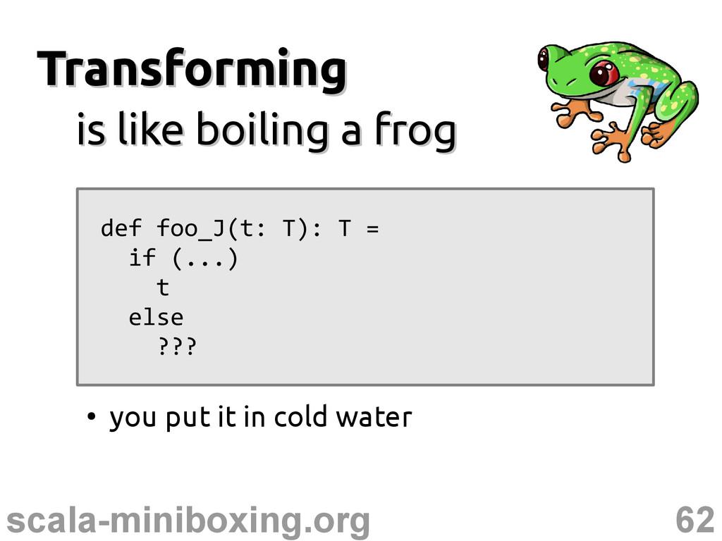 62 scala-miniboxing.org Transforming Transformi...