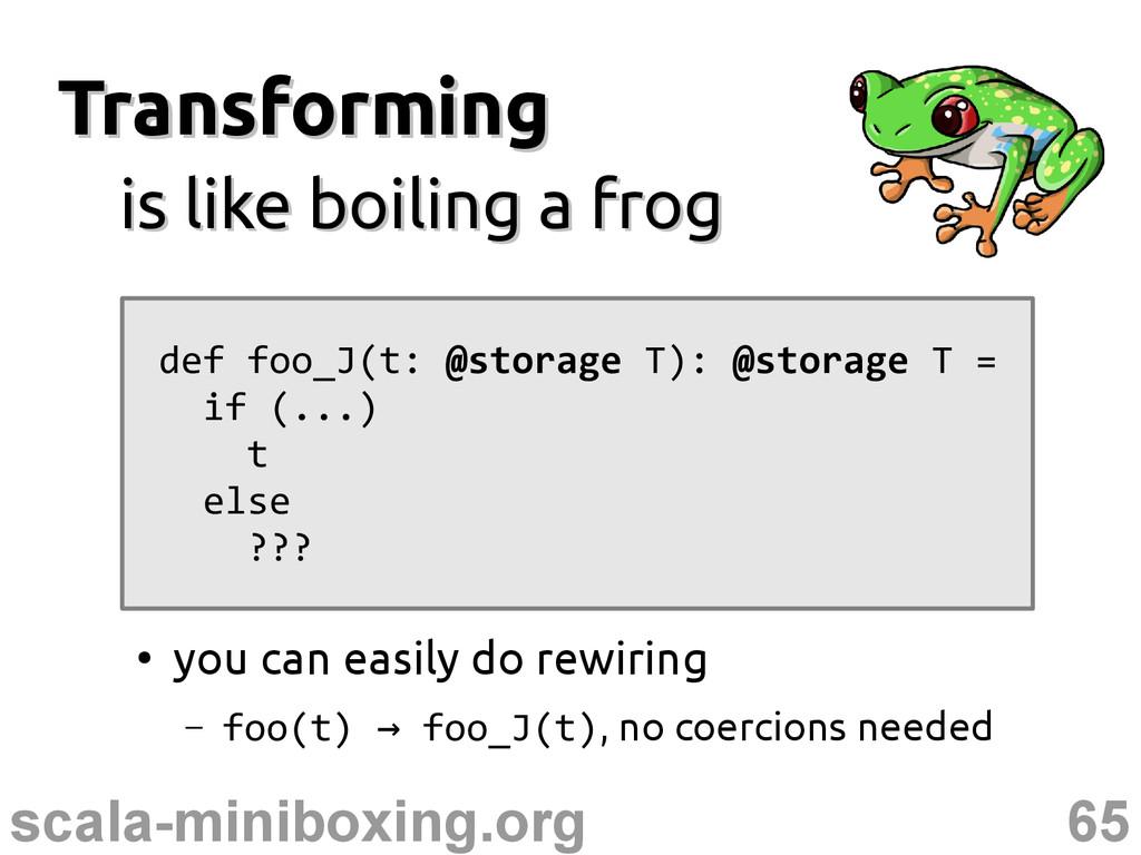 65 scala-miniboxing.org Transforming Transformi...