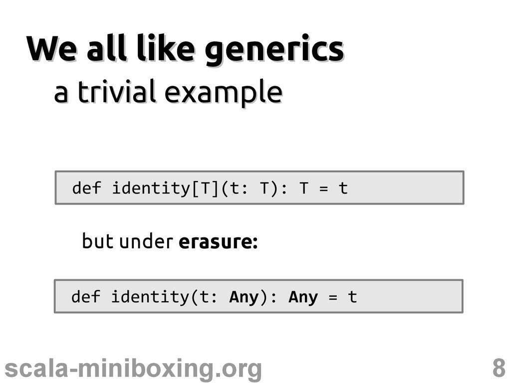 8 scala-miniboxing.org We all like generics We ...