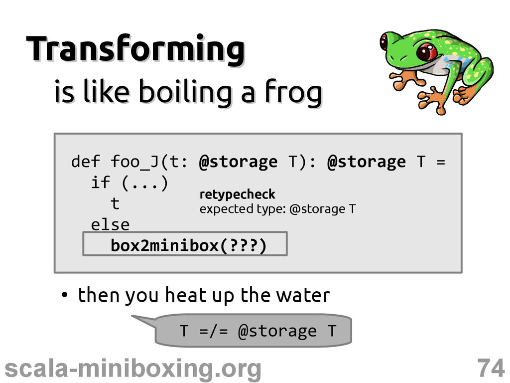 74 scala-miniboxing.org Transforming Transformi...
