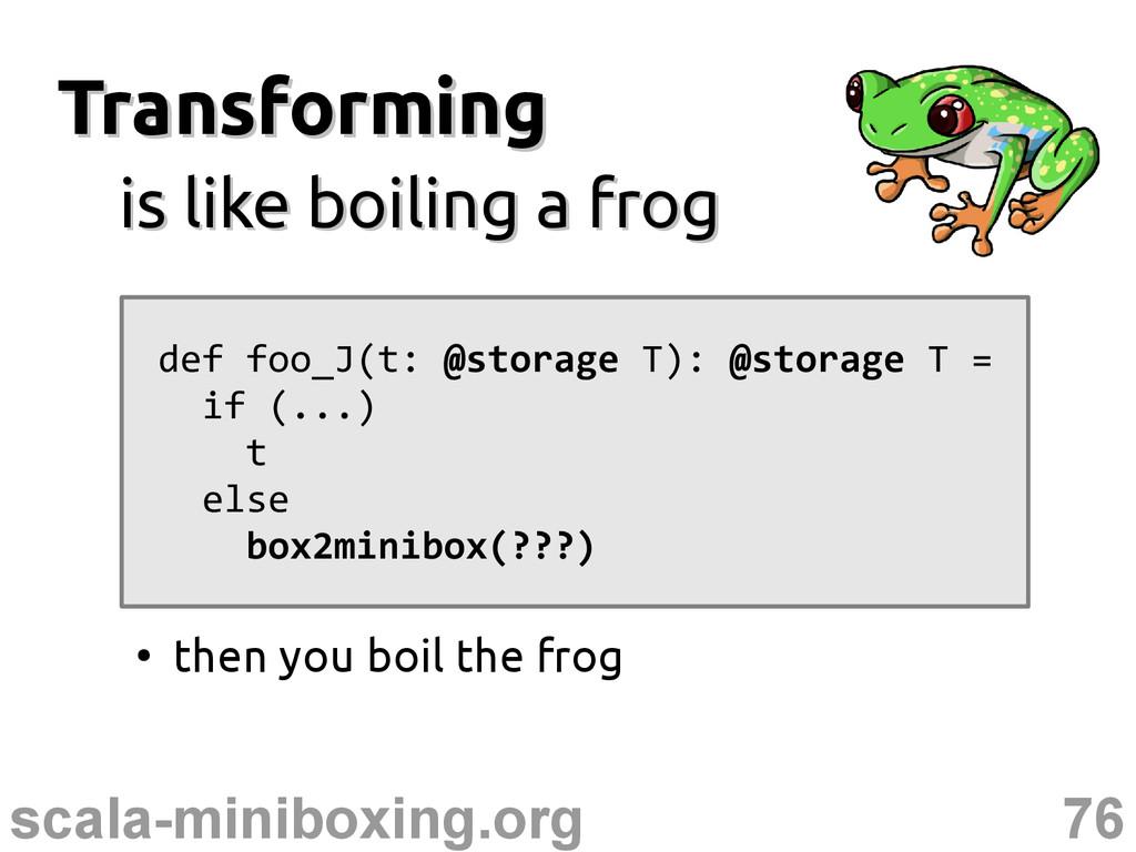 76 scala-miniboxing.org Transforming Transformi...
