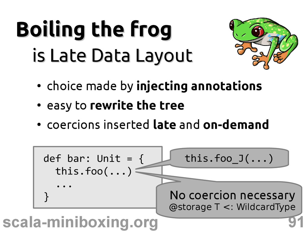 91 scala-miniboxing.org Boiling the frog Boilin...