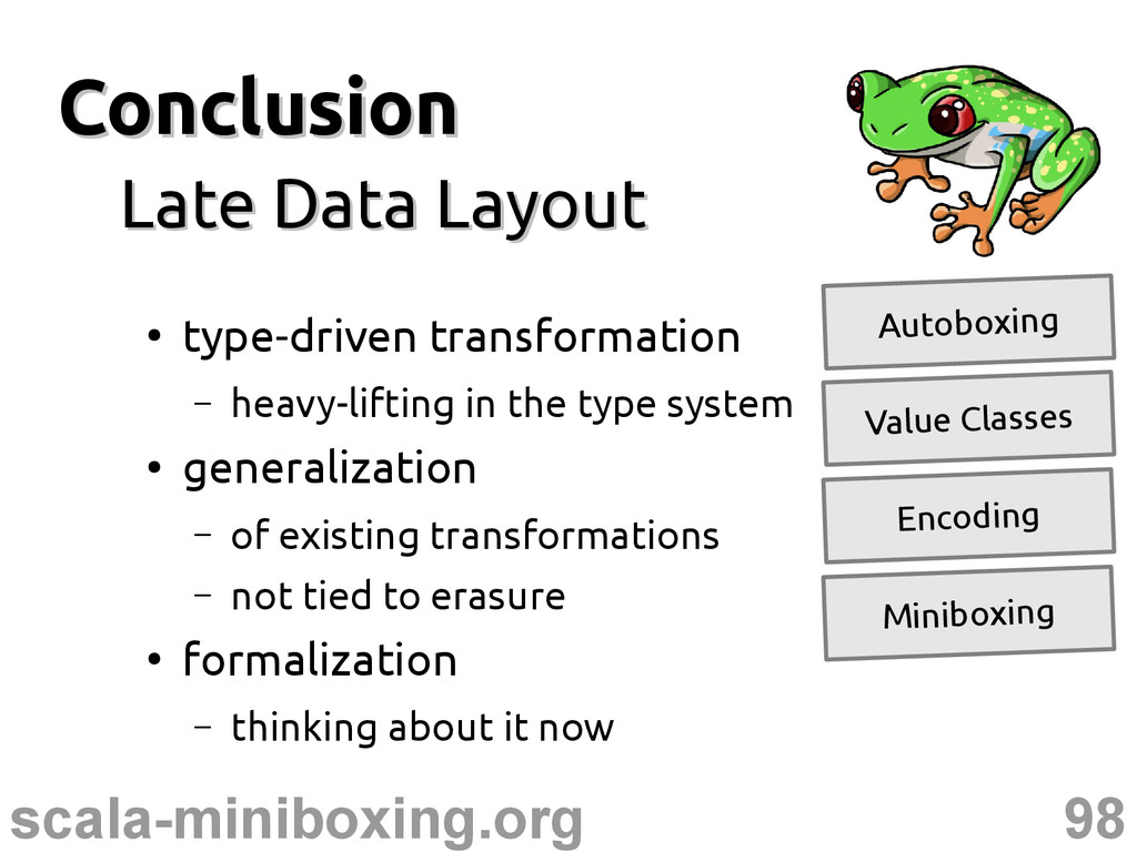 98 scala-miniboxing.org Conclusion Conclusion L...
