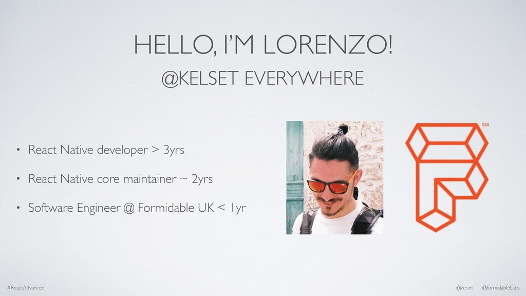 HELLO, I'M LORENZO! • React Native developer > ...