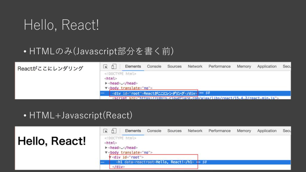 Hello, React! • HTMLのみ(Javascript部分を書く前) • HTML...