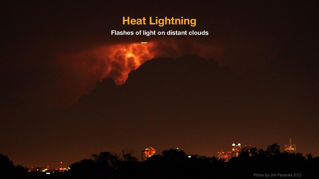 Flashes of light on distant clouds Heat Lightni...