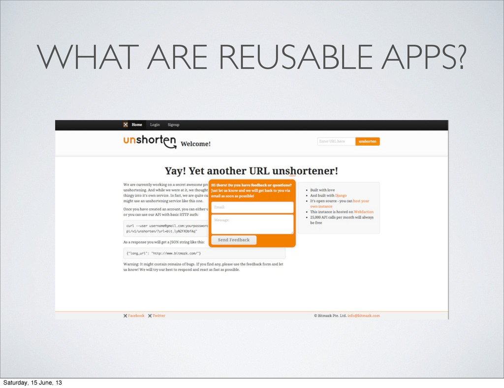 WHAT ARE REUSABLE APPS? Saturday, 15 June, 13