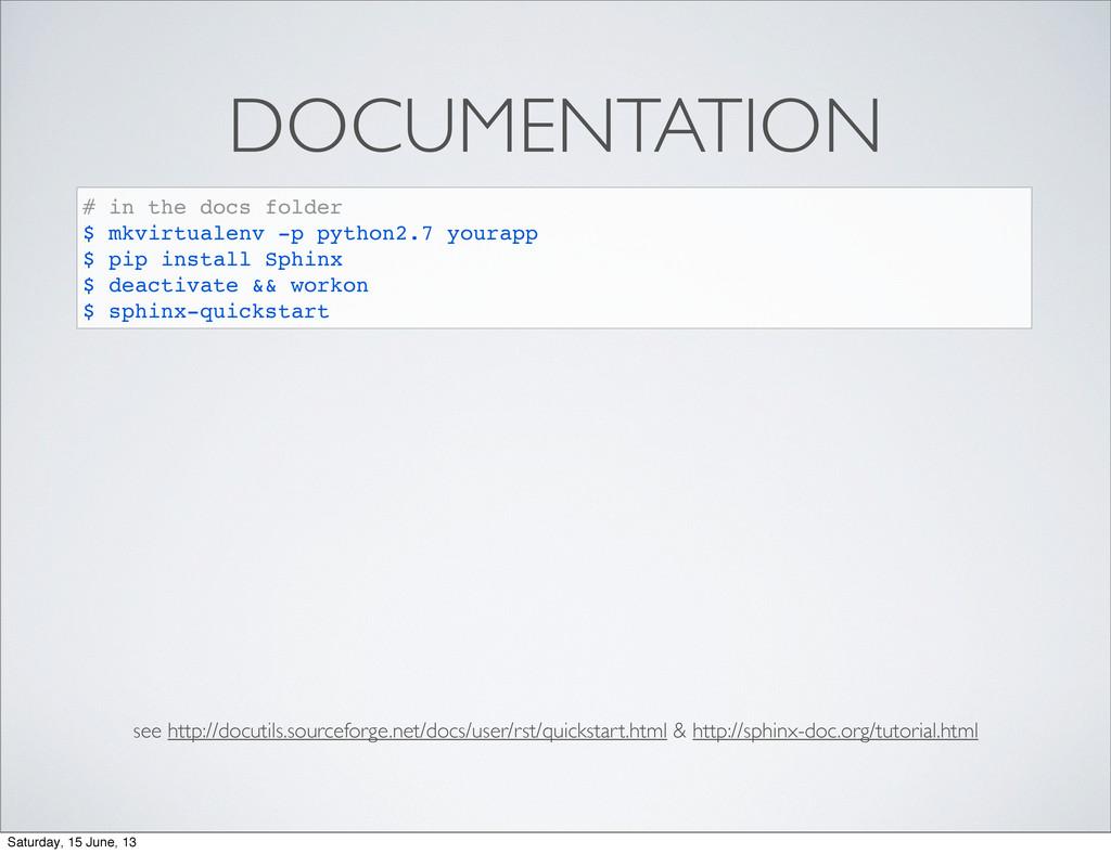 DOCUMENTATION # in the docs folder $ mkvirtuale...