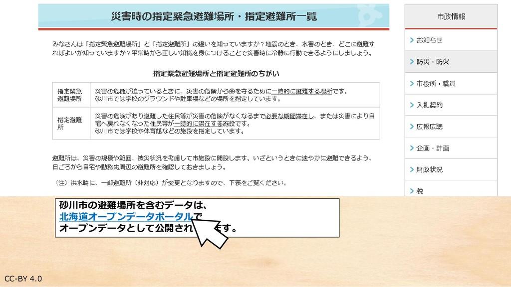 CC-BY 4.0 砂川市の避難場所を含むデータは、 北海道オープンデータポータルで オープン...