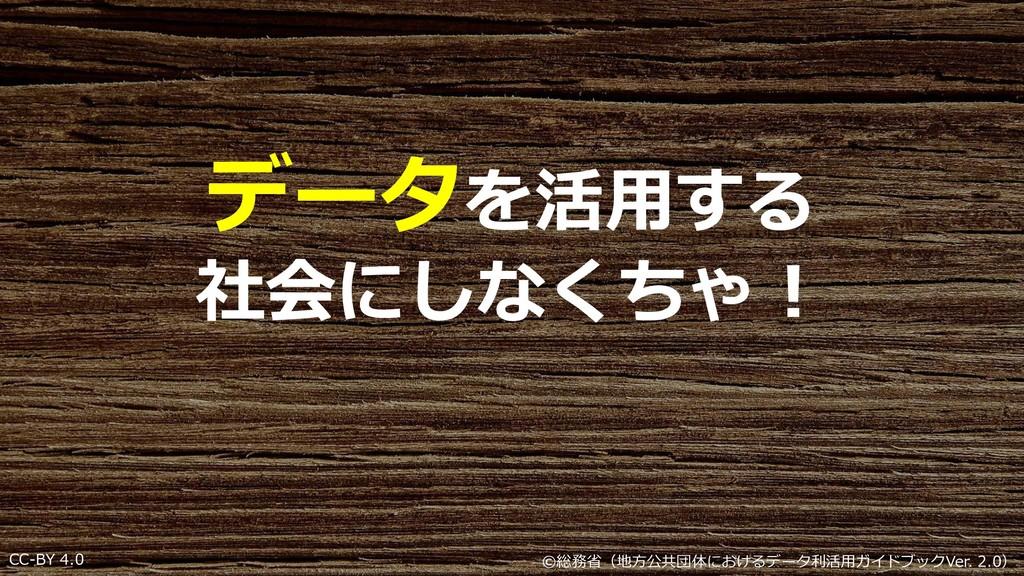 CC-BY 4.0 データを活用する 社会にしなくちゃ! ©総務省(地⽅公共団体におけるデータ...