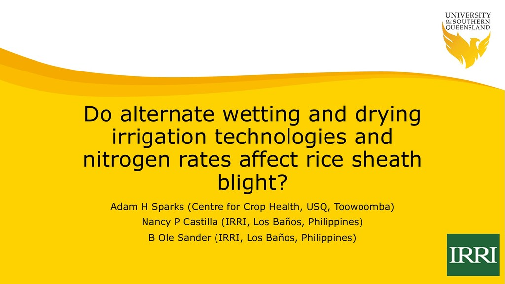 Do alternate wetting and drying irrigation tech...