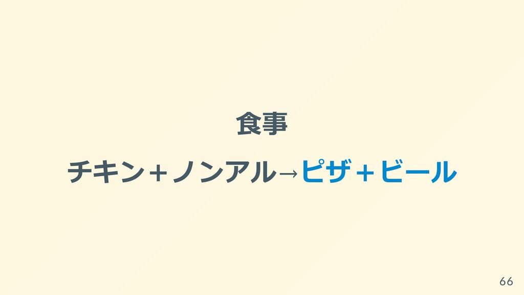 ⾷事 チキン+ノンアル→ピザ+ビール 66