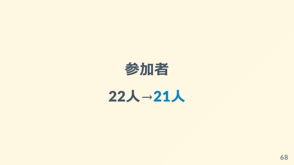 参加者 22⼈→21⼈ 68