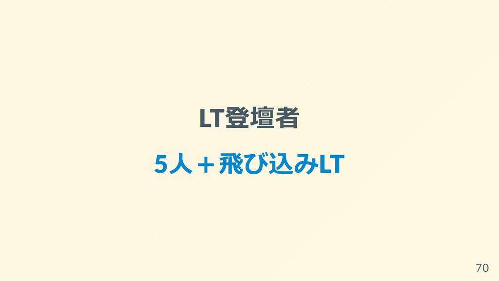LT登壇者 5⼈+⾶び込みLT 70