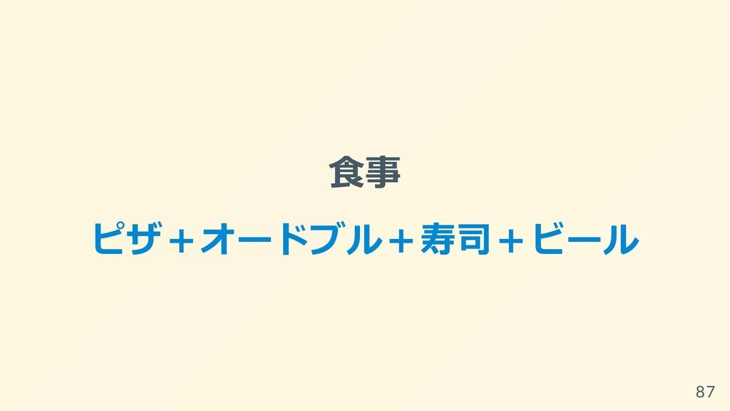 ⾷事 ピザ+オードブル+寿司+ビール 87