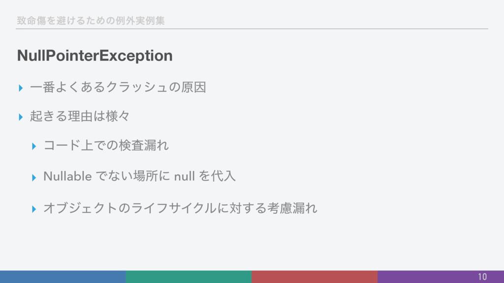 க໋ইΛආ͚ΔͨΊͷྫ֎࣮ྫू NullPointerException ▸ Ұ൪Α͋͘ΔΫϥ...