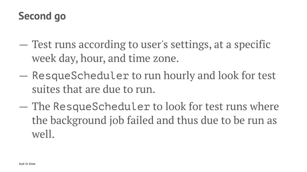 Second go — Test runs according to user's setti...
