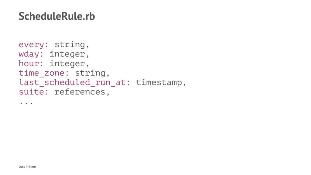 ScheduleRule.rb every: string, wday: integer, h...