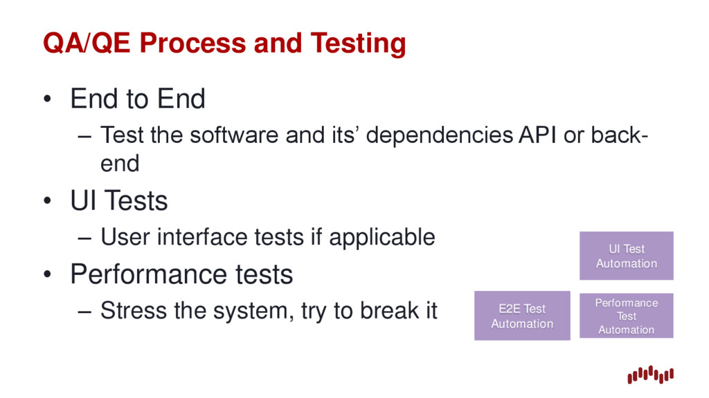 QA/QE Process and Testing • End to End – Test t...