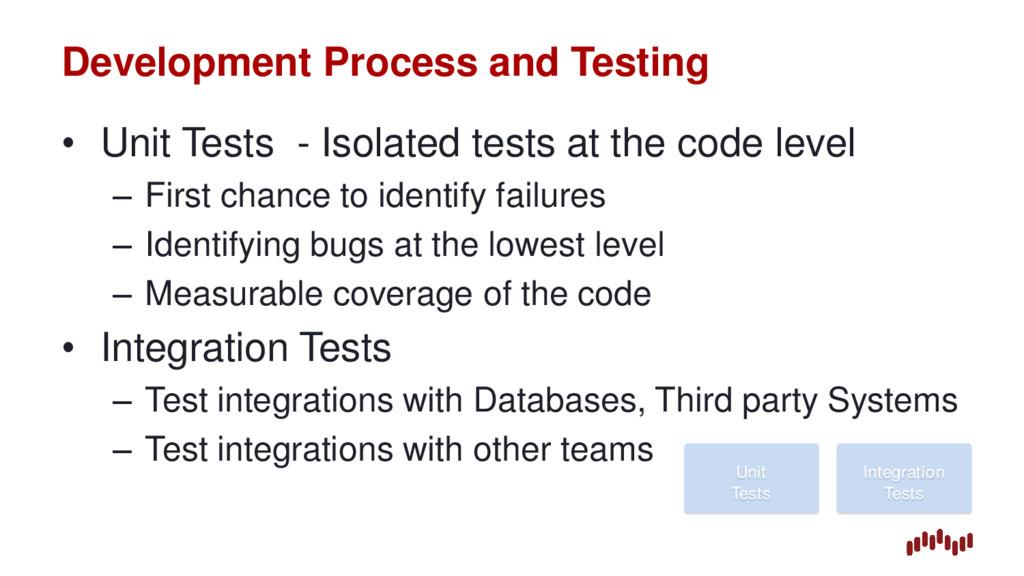 Development Process and Testing • Unit Tests - ...