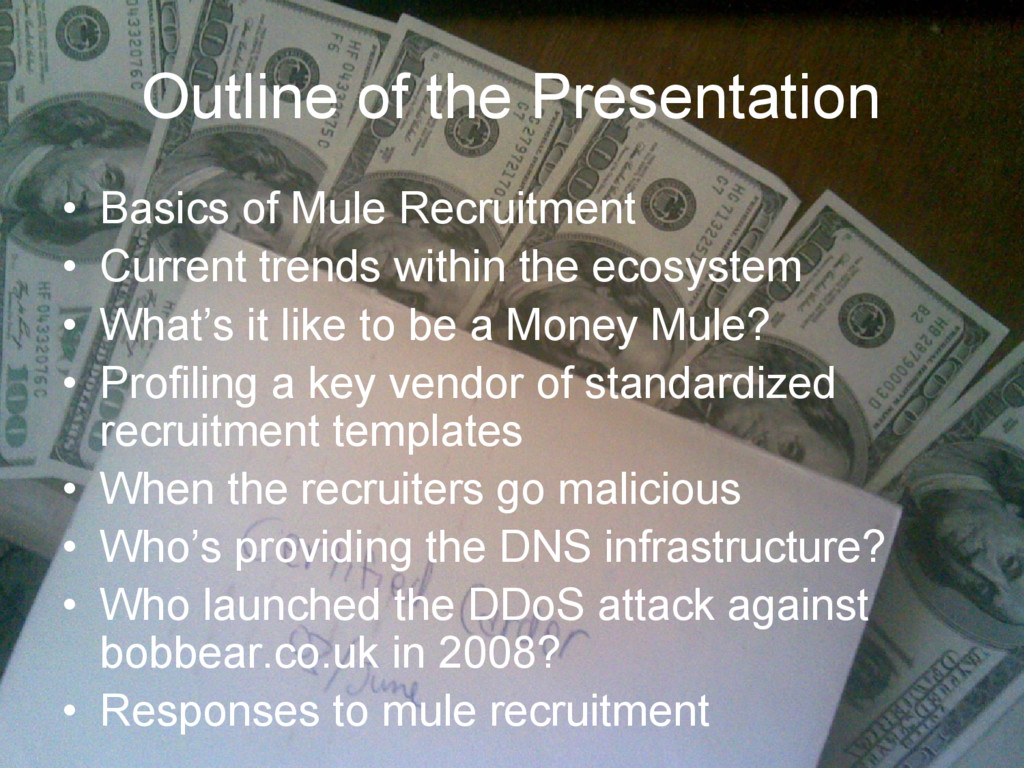 Outline of the Presentation • Basics of Mule Re...