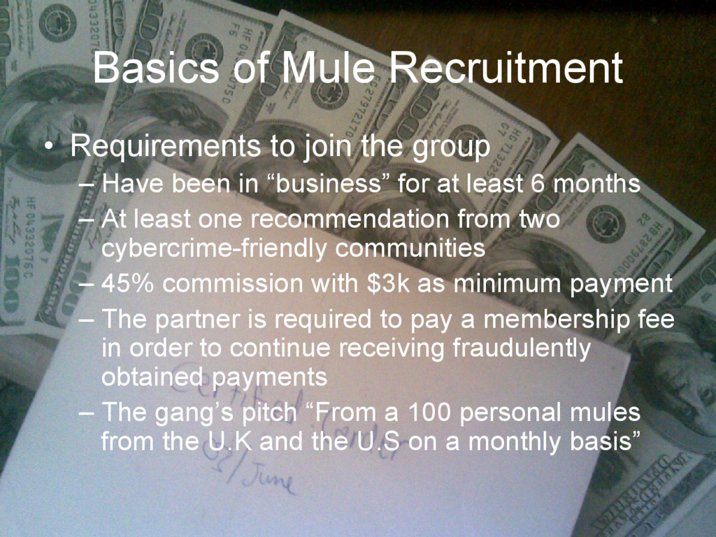 Basics of Mule Recruitment • Requirements to jo...