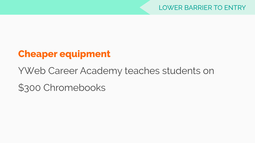 Cheaper equipment YWeb Career Academy teaches s...