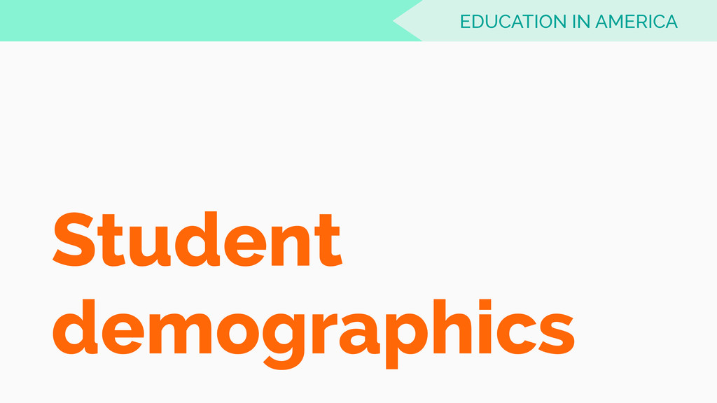 Student demographics EDUCATION IN AMERICA
