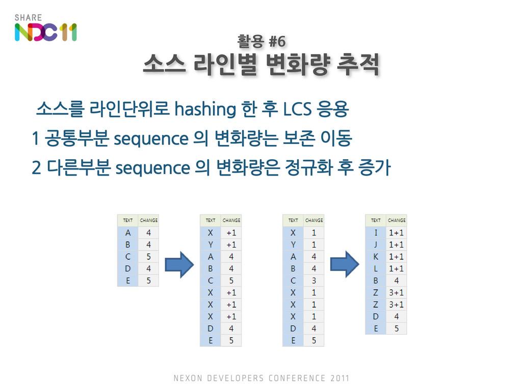 소스를 라인단위로 hashing 한 후 LCS 응용 1 공통부분 sequence 의 ...