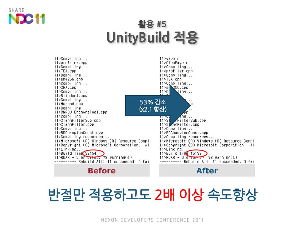 활용 #5 UnityBuild 적용 53% 감소 (x2.1 향상) Before Aft...
