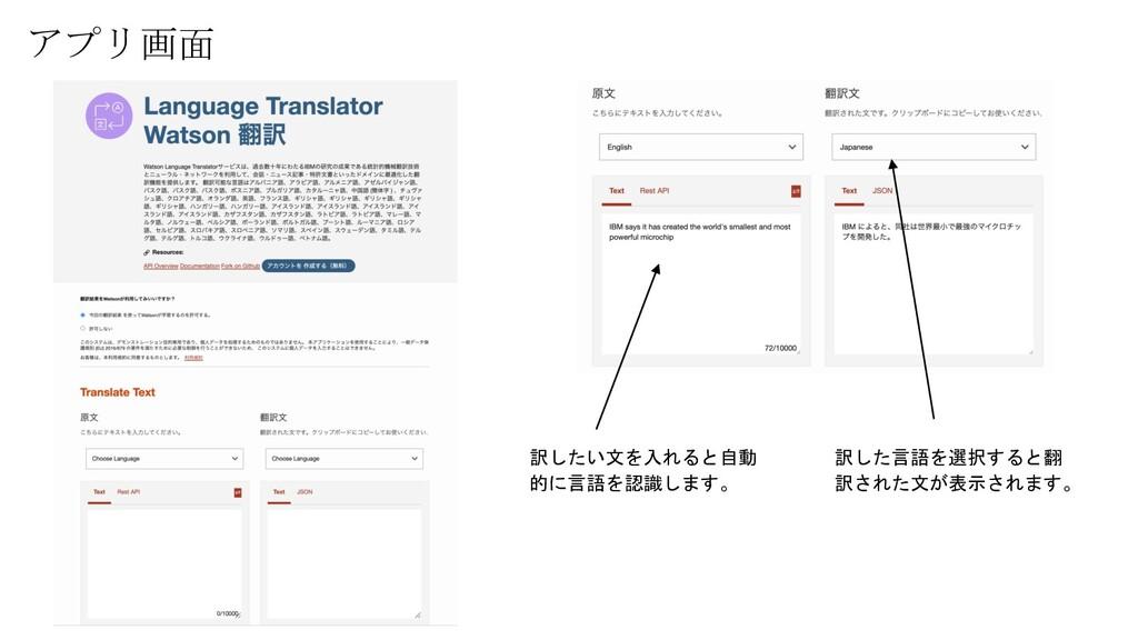 アプリ画面 訳したい文を入れると自動 的に言語を認識します。 訳した言語を選択すると翻 訳され...