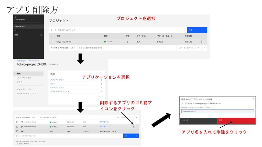 アプリ削除方 プロジェクトを選択 アプリケーションを選択 削除するアプリのゴミ箱ア イコンをク...