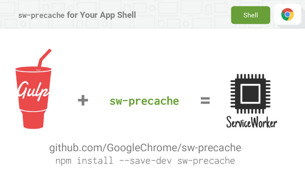 sw-precache for Your App Shell sw-precache + = ...
