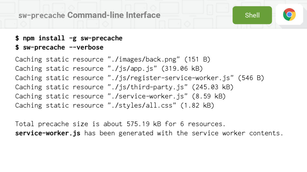 sw-precache Command-line Interface Shell $ npm ...