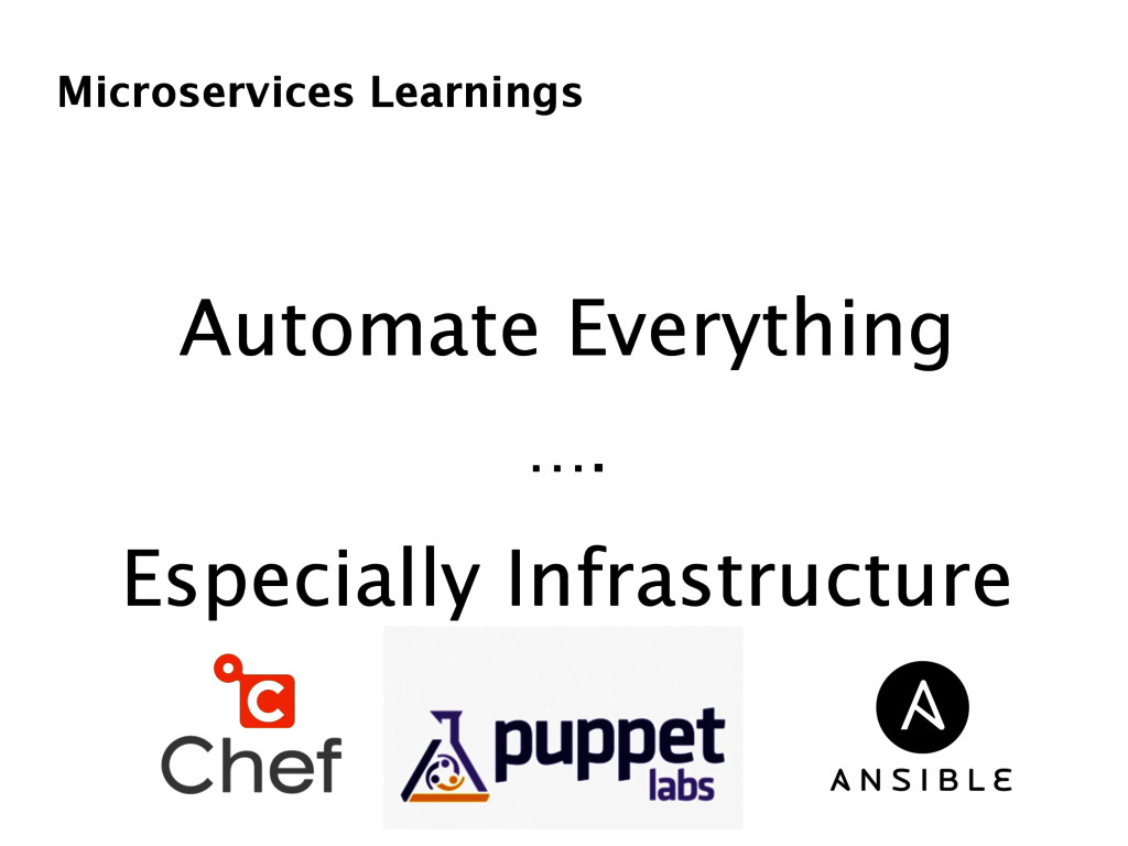 Microservices Learnings Automate Everything …. ...