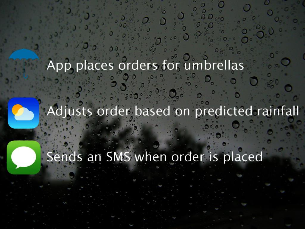 App places orders for umbrellas Adjusts order b...