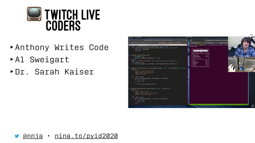! TWITCH LIVE CODERS ‣Anthony Writes Code ‣Al S...