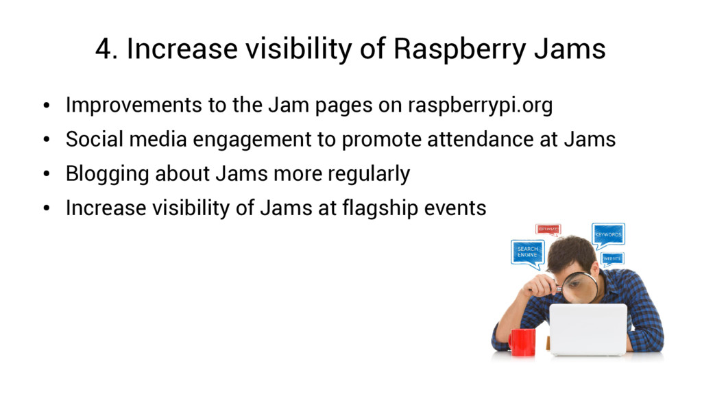 4. Increase visibility of Raspberry Jams ● Impr...