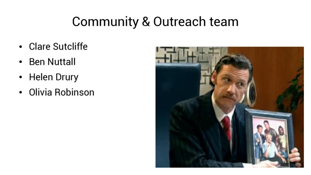 Community & Outreach team ● Clare Sutcliffe ● B...