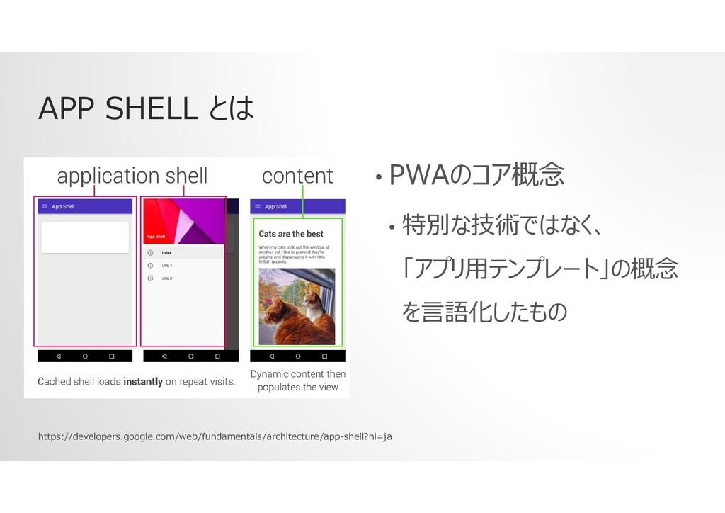 APP SHELL とは • PWAのコア概念 • 特別な技術ではなく、 「アプリ用テンプレー...