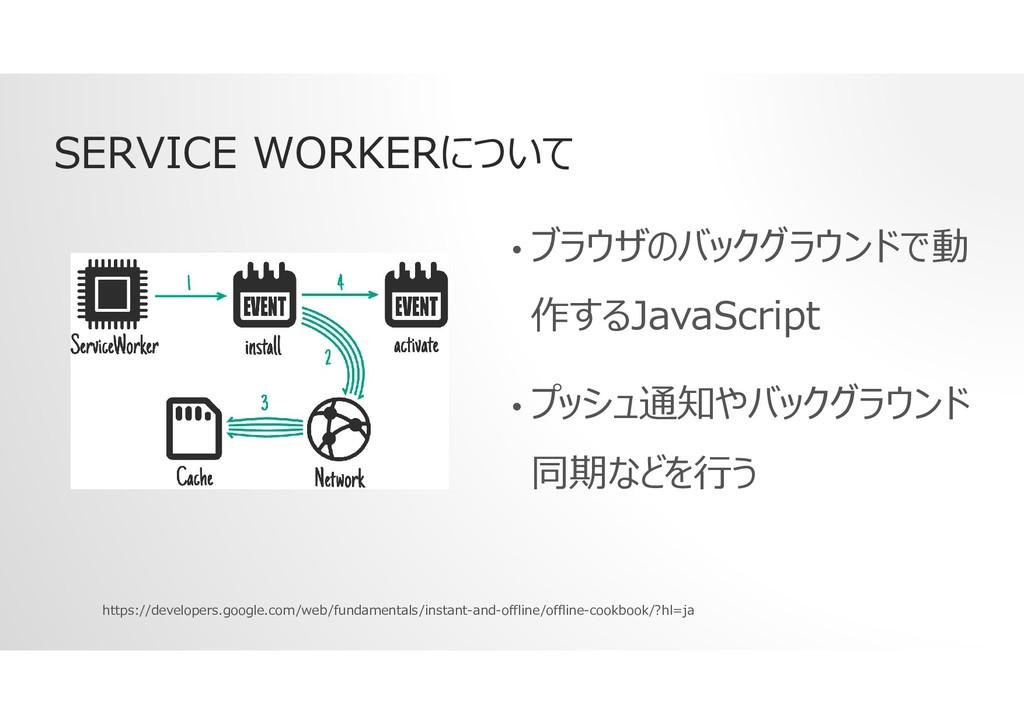 SERVICE WORKERについて • ブラウザのバックグラウンドで動 作するJavaScr...