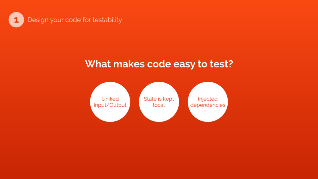 What makes code easy to test? Unified Input/Out...