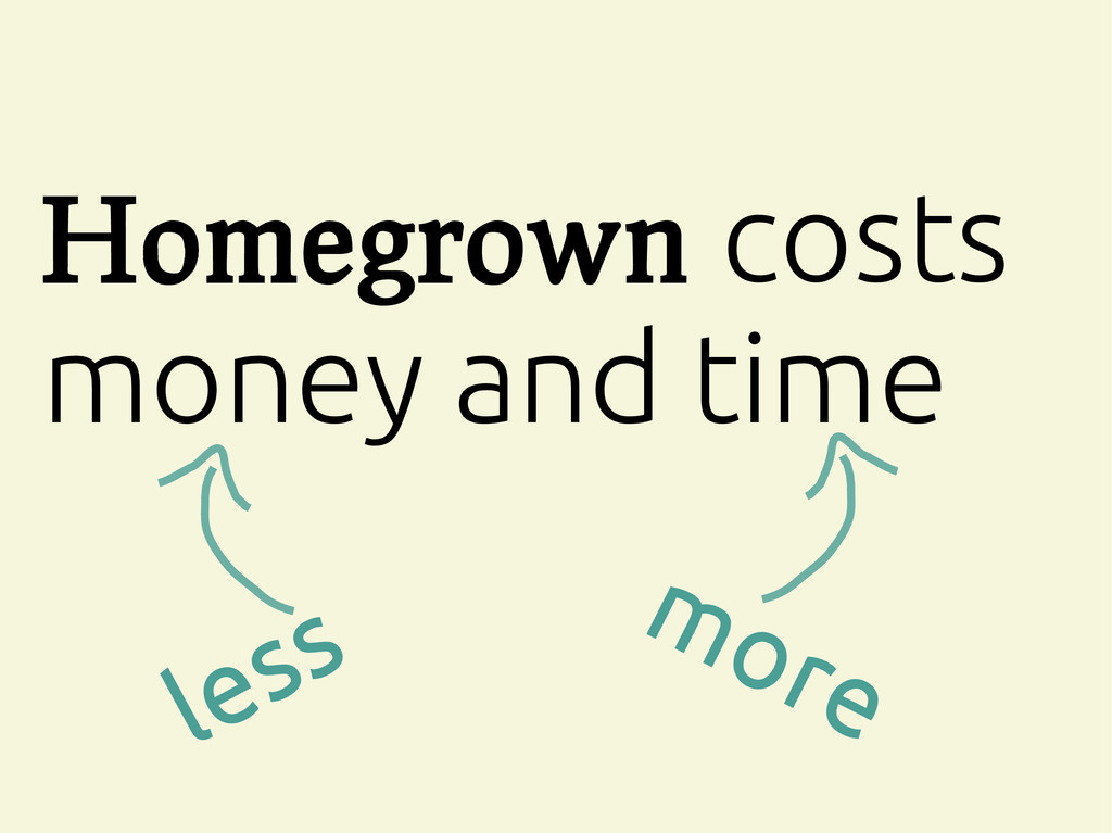 Homegrown costs money and time more less