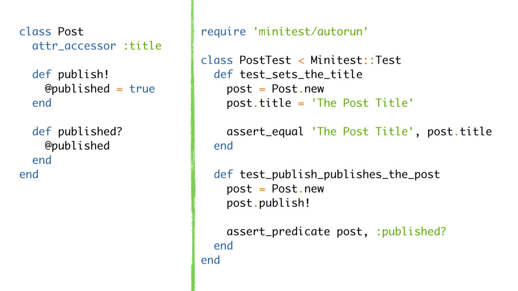 class Post attr_accessor :title def publish! @p...